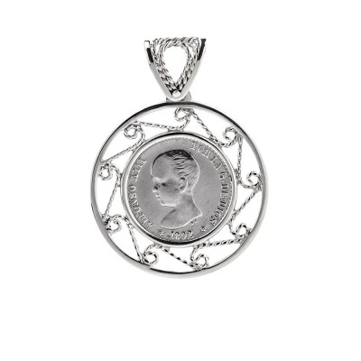 Colgante de plata 0.50 centimos Alfonso XIII Filigrana artesanal