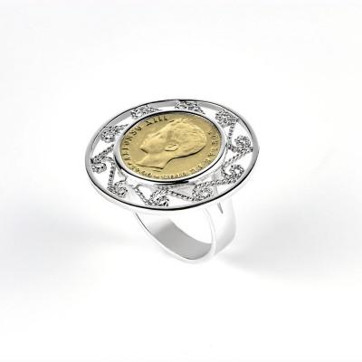 Anillo de moneda de plata 0.50 centimos Alfonso XIII