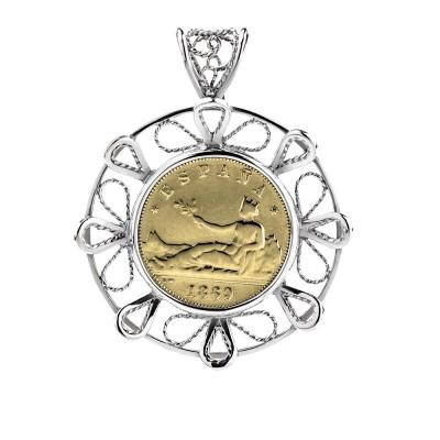 Colgante Filigrana de plata con moneda 2 pesetas