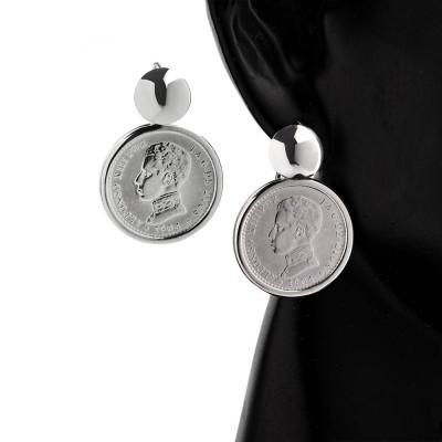 Pendientes de Plata con Monedas Auténticas Alfonso XIII