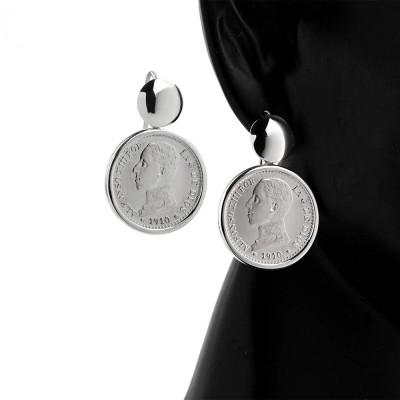 Pendientes con Monedas de plata 50 céntimos