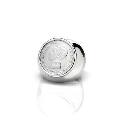 Sello con moneda Alfonso XIII. Antigua y Autentica. Plata de primera ley.