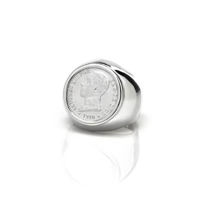 Anillo sello con moneda antigua y autentica. Plata de primera ley.