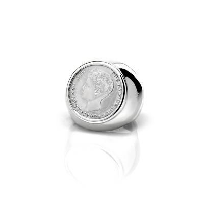 Anillo Sello con moneda 50 centimos Alfonso XIII Plata de Ley