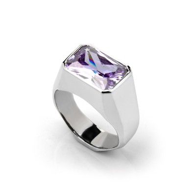 """ANILLO RADIANTE"" con ZIRCONIA DE COLOR AMATISTA"