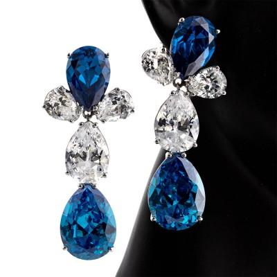 Pendientes Lagrimas de Zirconia cúbica de color azul y diamante