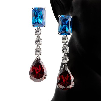Pendientes de Zirconia cúbica de color azul, granate y diamante