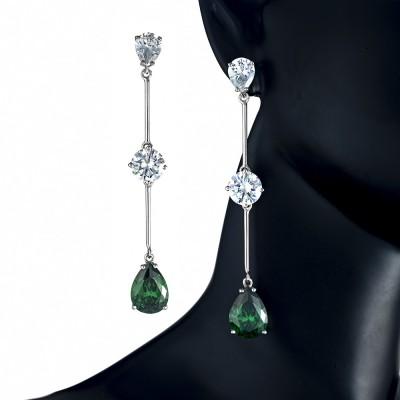 Pendientes largos Circonitas grandes de color Esmeralda y Diamante