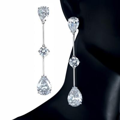 Pendientes largos Circonitas grandes de color Diamante
