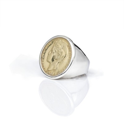 Anillo Sello 2 pesetas.  Sello con moneda autentica chapada en oro.  Plata 1ªLey.    Disponible. nº8 a nº30.