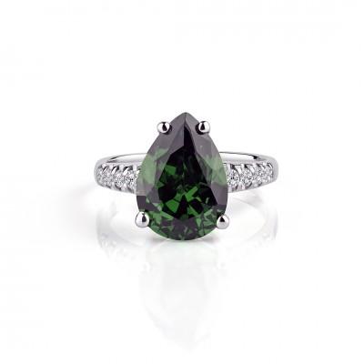 Anillo circonio lagrima de color verde esmeralda