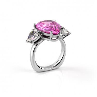 Anillo circonio lagrimas de color rosa