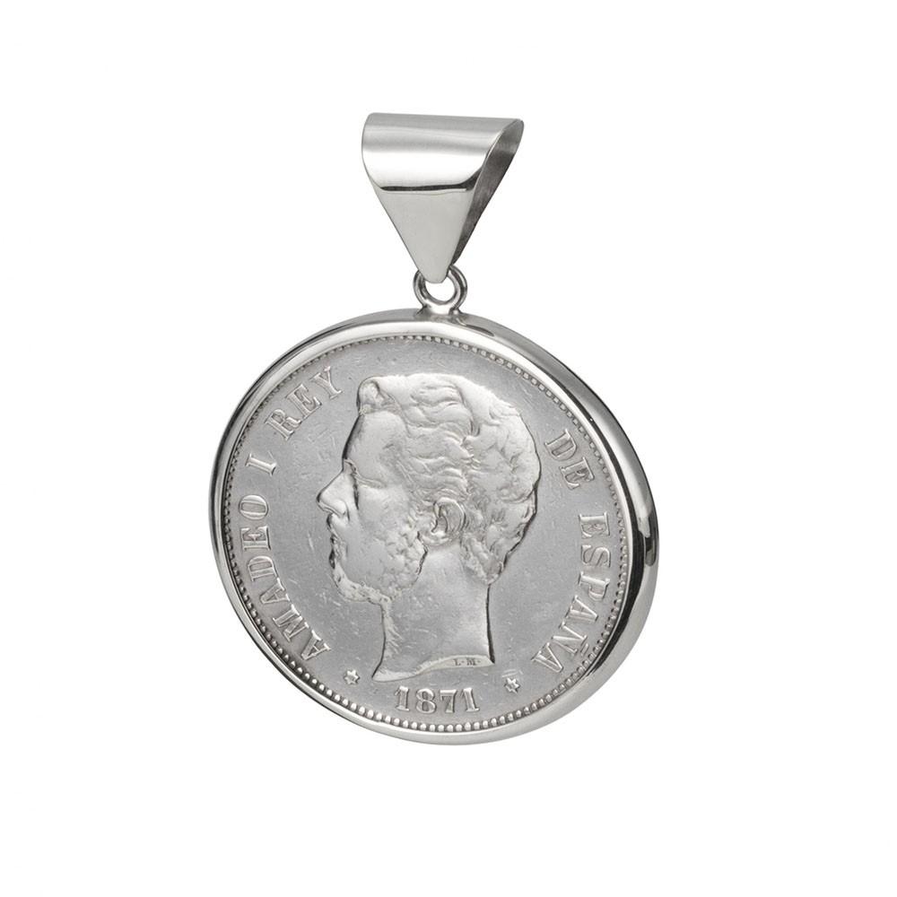 Moneda autentica.  Amadeo I Rey de España. 5 Pesetas Plata.  Cerco hecho a mano. Plata 1ªLey.  Moneda giratorio