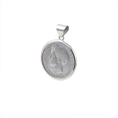 Colgante Moneda 1 peseta Alfonso XIII  1 Peseta de Plata Española.  Cerco hecho a mano. Plata 1ªLey.