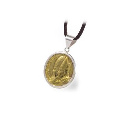 Moneda replica  Colgante con moneda bronce y Plata 1ªLey.