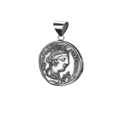 Colgante con Moneda Romana antigua en Plata de primera ley envejersida.