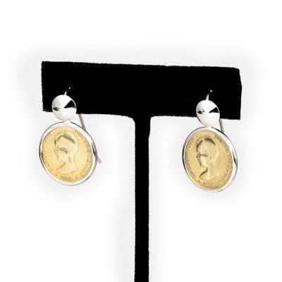 Pendientes de Plata chapada en Oro de 18k. con Monedas Auténticas Alfonso XIII