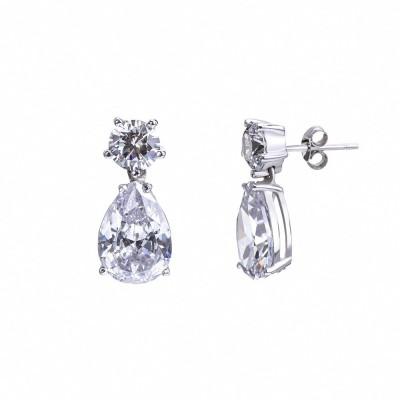 Pendientes de plata con circonitas de 5* como diamante.