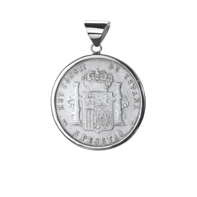 Colgante con Moneda Alfonso XIII Rey de España. 5 Pesetas