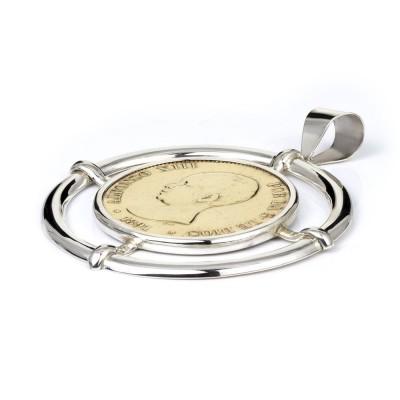 Colgante con Moneda autentica 5 pesetas dorado.