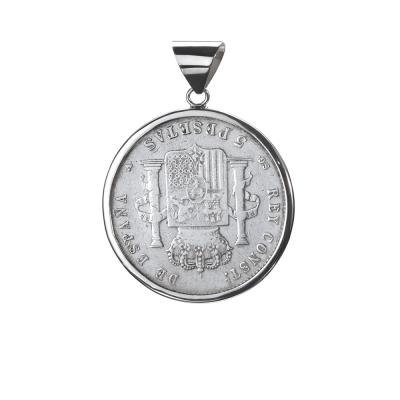 Moneda autentica. 5 Pesetas del Gobierno Provisional.  Cerco hecho a mano. Plata 1ªLey.  Moneda giratorio