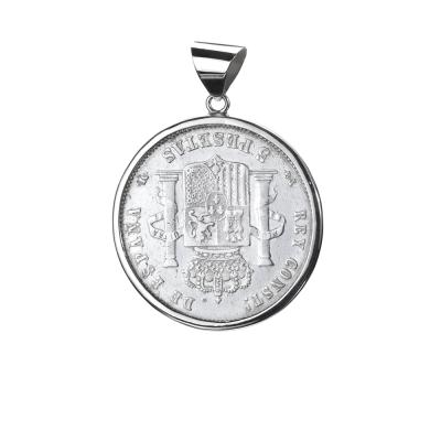 Moneda autentica.  Alfonso XIII Rey de España. 5 Pesetas Plata.  Cerco hecho a mano. Plata 1ªLey.  Moneda giratorio