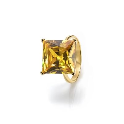 Anillo circonita princessa. Amarillo oro. Hecho a mano. Circonita AAAAA  Plata 1ªLey. Acabado brillante  Rodio (rodiado).