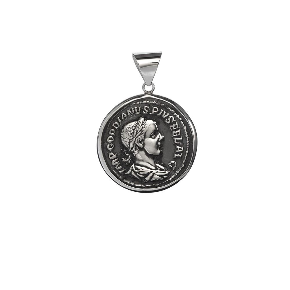 Colgante con Moneda Romana en Plata de primera ley envejersida.