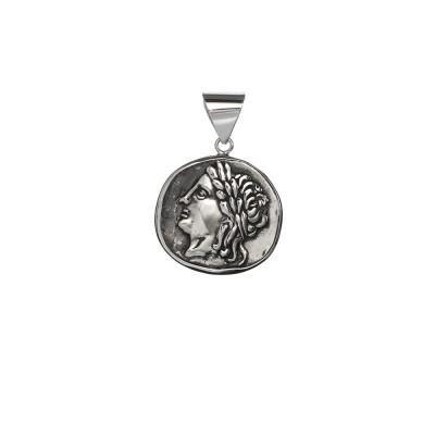Moneda Romana Antigua de Colgante de plata de primera ley.