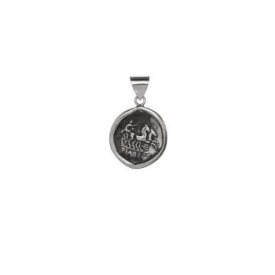 Moneda Romana antigua. Colgante de plata de primera ley.