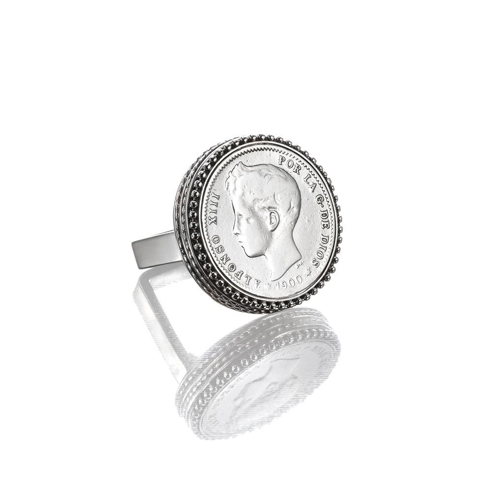 Anillo Alfonso XIII  Anillo con moneda autentica 2 pts. Alfonso XIII. Hecho a mano.  Plata