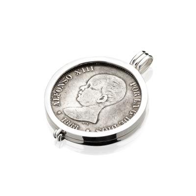 Colgante cerco para monedas de 5 Pesetas Plata