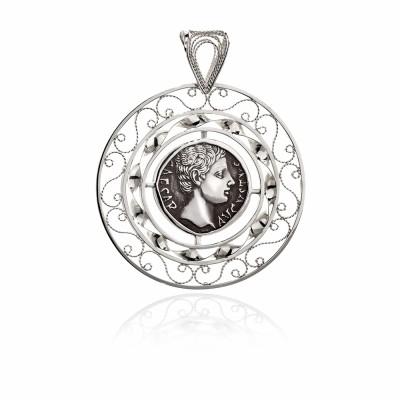 Colgante Filigrana de plata y moneda Romana