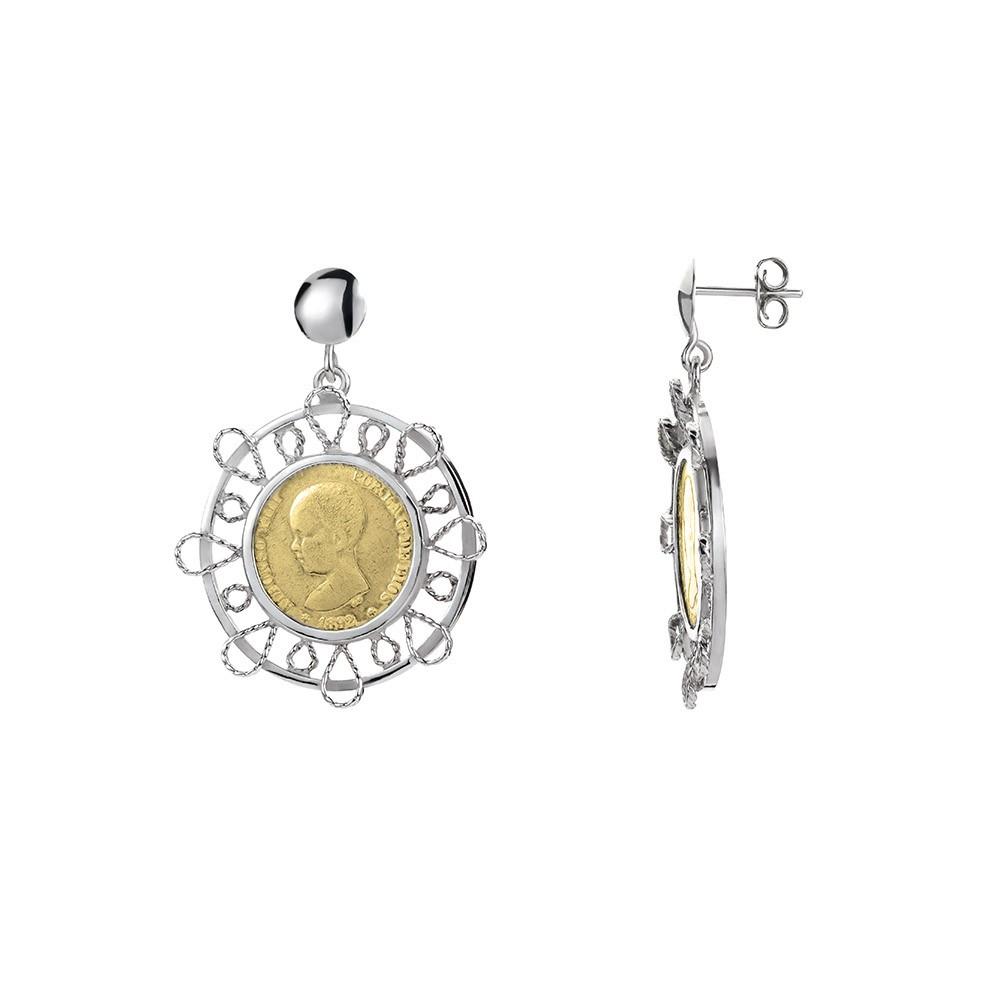Pendientes Filigrana artesanal y monedas de plata.